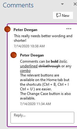 One person Comments in Word - One person Comments in Word