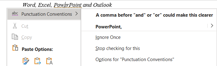 Microsoft Word and the Oxford comma 1 - Microsoft Word tests for the Oxford Comma