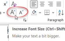 Word - increase font size