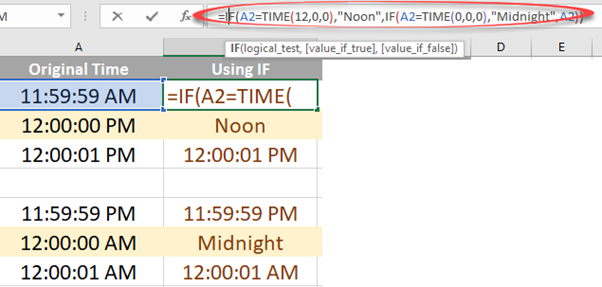 12 PM or noon in Excel 1 2 - Showing 12 PM as 'noon' in Excel