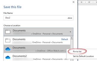Pinned Save folders in Microsoft 365 - Pinned Save folders in Microsoft 365