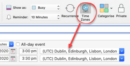 add outlook appointment in another time zone 1 - Add Outlook appointment in another time zone