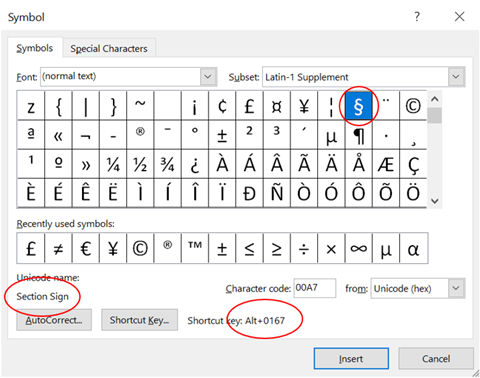 Section Symbol in Word Excel PowerPoint and Outlook 2 - Section Symbol § in Word, Excel, PowerPoint and Outlook