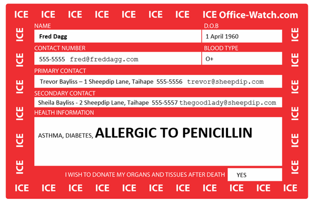 Ice In Case Of Emergency Card In Word Office Watch