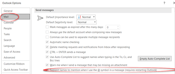 Disable @ mentions in Outlook 365 1 - Disable @ mentions in Outlook 365