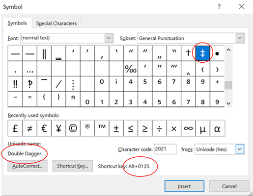 Double Dagger ‡ symbol in Word Excel PowerPoint and Outlook 1 - Double Dagger ‡ symbol in Word, Excel, PowerPoint and Outlook