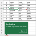 Excel Table Cards for smartphones