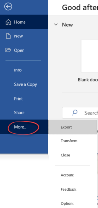 File menu change for the better in Office 365 1 200x422 - Office Watch Microsoft Outlook Word Excel Powerpoint Access Teams Onenote