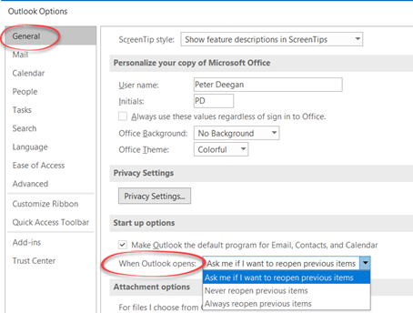 Outlook gets better restart and reopen options 1 - Outlook gets better restart and reopen options