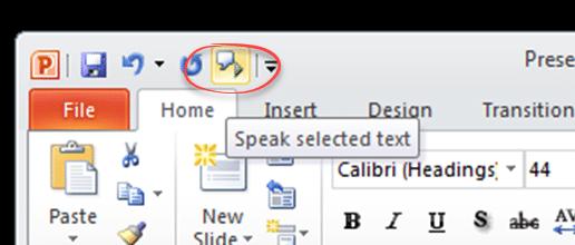 Powerpoint speaks aloud in Office 365 2019 2016 and earlier - Powerpoint speaks aloud in Office 365, 2019, 2016 and earlier