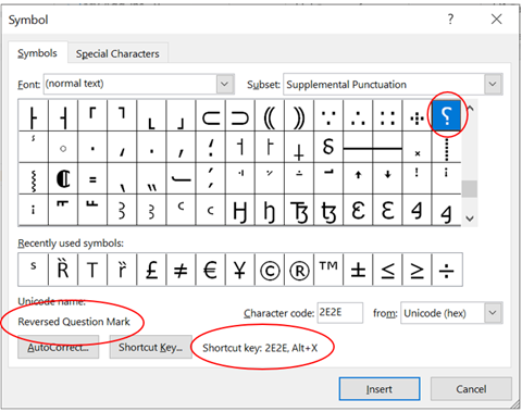 Reversed Question Mark Irony ⸮ symbol in Word Excel PowerPoint and Outlook 1 - Reversed Question Mark / Irony ⸮ symbol in Word, Excel, PowerPoint and Outlook