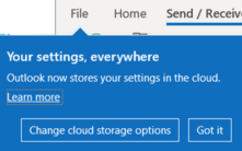 Outlook stores settings in the cloud – but which ones 221x138 - Office Watch Microsoft Outlook Word Excel Powerpoint Access Teams Onenote