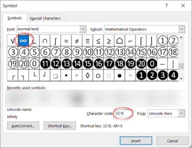 image 105 384x296 - Type Infinity ∞ symbols in Word, Excel, PowerPoint and Outlook
