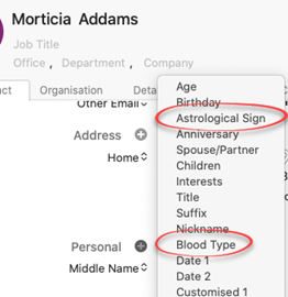 image 85 - Blood Type and Star Signs now in Outlook for Mac
