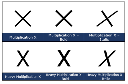 image 115 448x296 - X cross symbol ✗ in Word, Excel, PowerPoint and Outlook