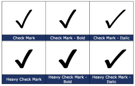 image 87 465x296 - Type a Checkmark or tick ✓ in Word, Excel, PowerPoint and Outlook