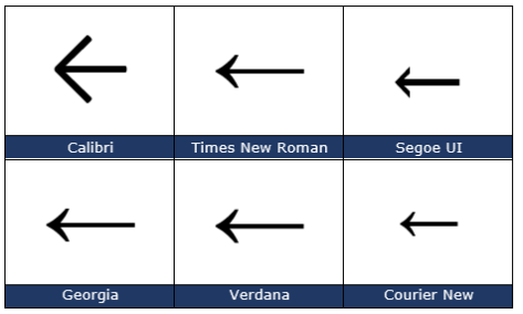 image 61 473x284 - Left arrow ← in Word, Excel, PowerPoint and Outlook