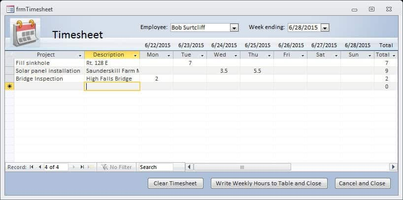advanced timesheet with access office watch