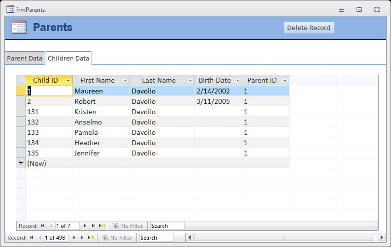 AW 1716 D - Delete Records in Linked Tables