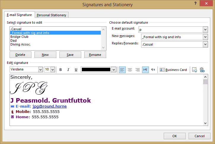 Outlook signatures 2 - Signatures for all occasions in Outlook