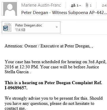 Supoena message - Witness Subpoena nasty email to avoid