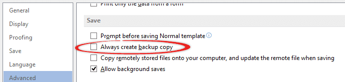How to make Office document backups and file versions