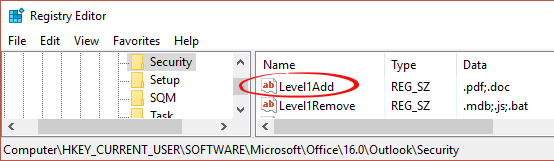 Adding more Outlook Level 1 attachment blocks - Office Watch
