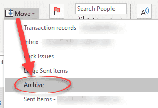 Archive in Outlook 365 and Outlook 2016/2019 for Windows