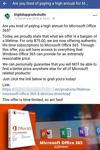 Bogus cheap Office 365 ads on Facebook - Office Watch