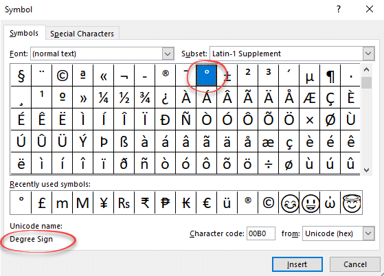 Degree symbol ° in Word, Excel and PowerPoint - Office Watch