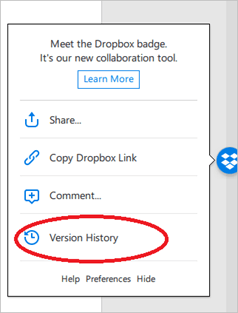 Dropbox Badge, a collaborative tool in Microsoft Office Windows and