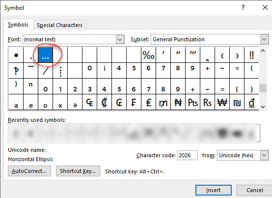 Ellipsis     symbol in Word, Excel, PowerPoint and Outlook
