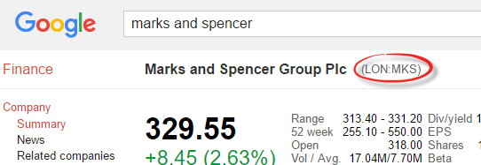 Excel: stock prices from Google Finance - Office Watch