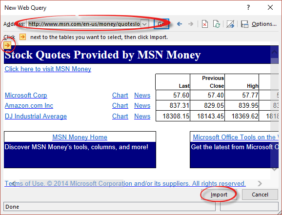 excel stock prices from msn money office watch