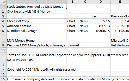 Msn Money Stock Quotes Endearing Excel Stock Prices From Msn Money  Office Watch