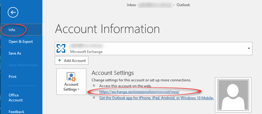 Find the Outlook Web App / webmail link for an Office 365 or