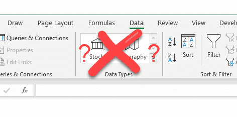 Fix Excel when Stock and Geography data types go missing