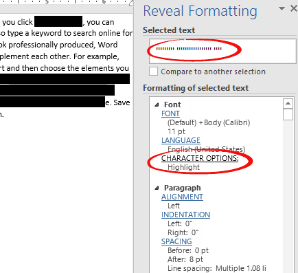 how to delete a black line in word