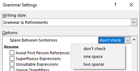 How Word Can Help Your College Entrance Essay  Office Watch Microsoft Word Can Check Sentence Spacing And Warn You If Its Not One  Space Or Two Spaces Depending On Your Preference