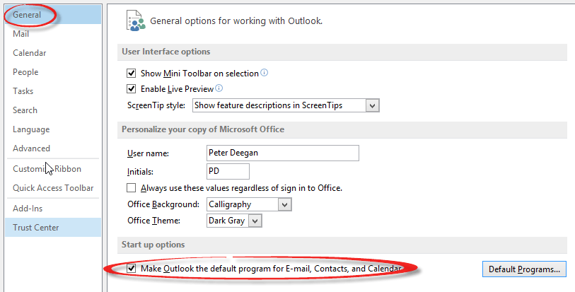 Changing default mail link back to Outlook - Office Watch
