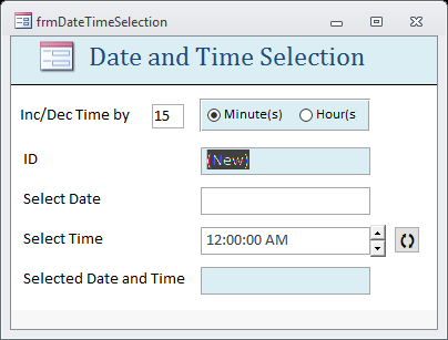 SpinButton Control for Selecting Time