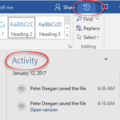 Activity view coming to Word 2016 for Windows