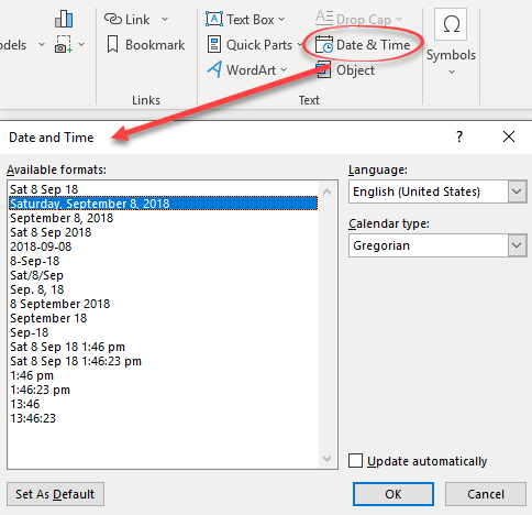 Put current date or time into Outlook emails
