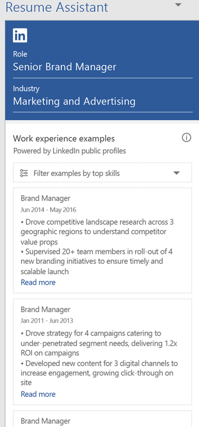 linkedin resume assistant for word 2016