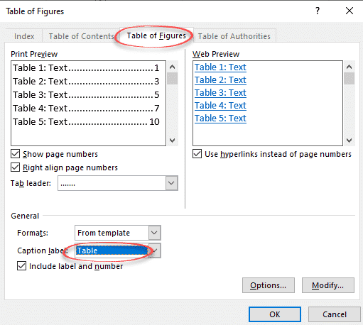 How do you create a list of tables in word 2020