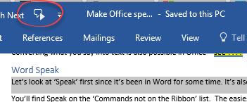 Make Microsoft Office speak or read aloud - Office Watch