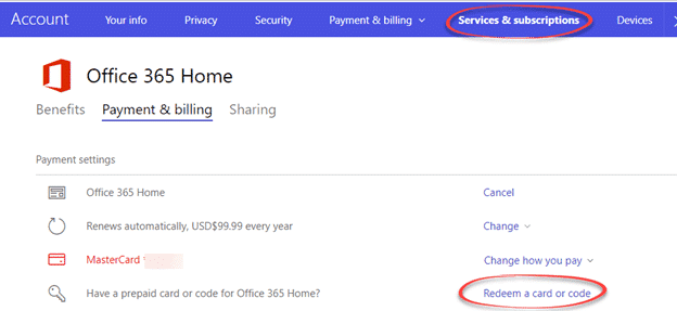 or try this link httpsaccountmicrosoftcomservicesofficebilling to the same page but ms changes their web navigation so the link might not work