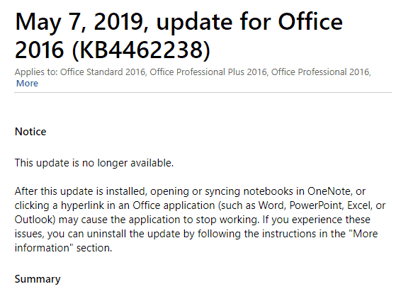 Office 2016 bug fix pulled because it was buggy! - Office Watch