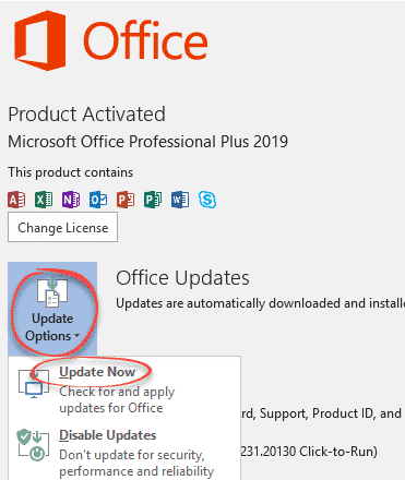 Office 2019 - Updates Available status bar notice - what to