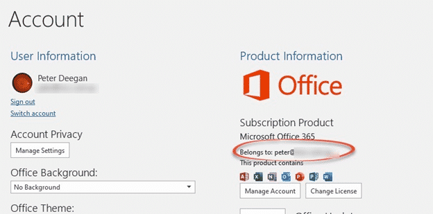 microsoft office account change email address